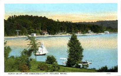 North Shore, Lake Cobbosseecontee - Augusta, Maine ME Postcard