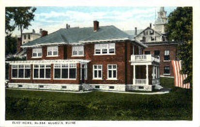Elks' Home - Augusta, Maine ME Postcard