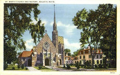 St. Mary's Church & Rectory - Augusta, Maine ME Postcard