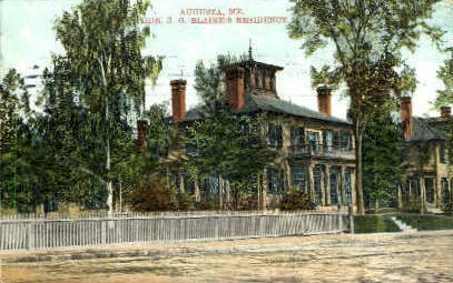 Hon. J. G. Blaine's Residence - Augusta, Maine ME Postcard