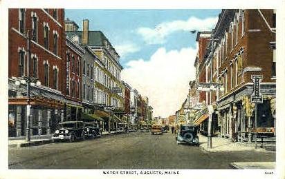 Water St. - Augusta, Maine ME Postcard