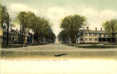 Winthrop St. & Old Ladies Home - Augusta, Maine ME Postcard