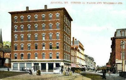 Corner of Water & Winthrop Sts. - Augusta, Maine ME Postcard