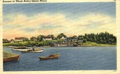 Steamer at Wharf - Bailey Island, Maine ME Postcard