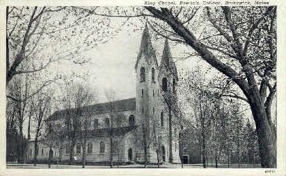 King Chapel, Bowdoin College - Brunswick, Maine ME Postcard