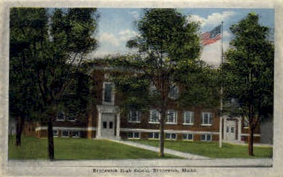 Brunswick High School - Maine ME Postcard