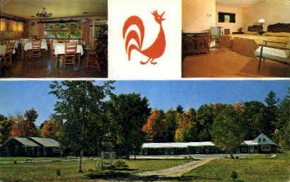 Red Rooster Motel & Dining Room - Bethel, Maine ME Postcard