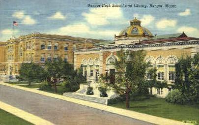 Bangor High School & Library - Maine ME Postcard