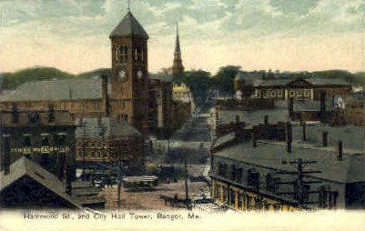 Hammond St. & City Hall Tower - Bangor, Maine ME Postcard