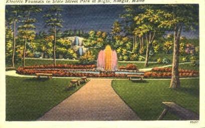 Electric Fountain, State St. Park - Bangor, Maine ME Postcard