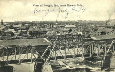 View from Brewer Side - Bangor, Maine ME Postcard