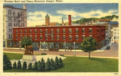 Windsor Hotel & Pierce Memorial - Bangor, Maine ME Postcard