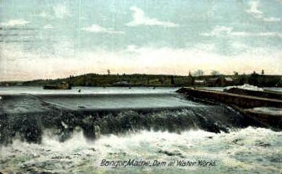 Dam at Water Works - Bangor, Maine ME Postcard