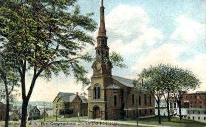 First Congregational Church & Parsonage - Bangor, Maine ME Postcard