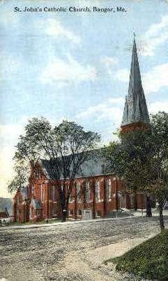 St. John's Catholic Church - Bangor, Maine ME Postcard