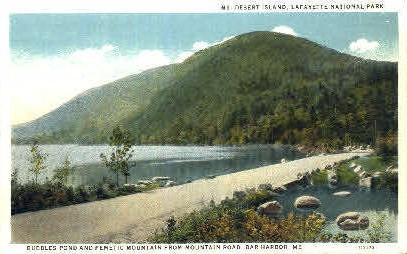 Bubbles Pond & Pemetic Mountain - Bar Harbor, Maine ME Postcard