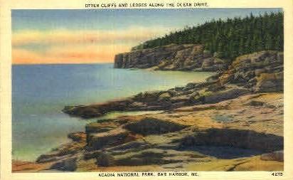 Otter Cliffs & Ledges - Bar Harbor, Maine ME Postcard