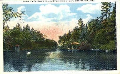 Where Duck Brook meets Frenchmen's Bay - Bar Harbor, Maine ME Postcard