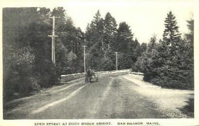 Eden St. & Duck Brook Bridge - Bar Harbor, Maine ME Postcard