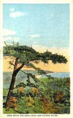 Sand Beach & Great head - Bar Harbor, Maine ME Postcard