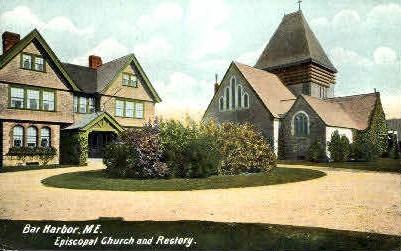 Episcopal Church & Rectory - Bar Harbor, Maine ME Postcard
