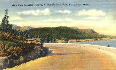Rockefeller Drive - Bar Harbor, Maine ME Postcard
