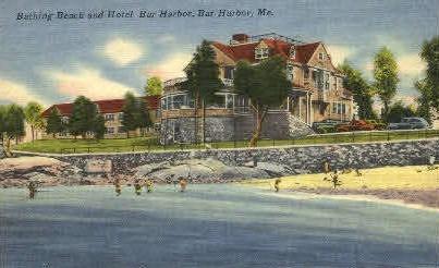 Bathing Beach & Hotel Bar Harbor - Maine ME Postcard