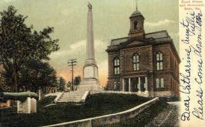 Court House & Monument - Bath, Maine ME Postcard