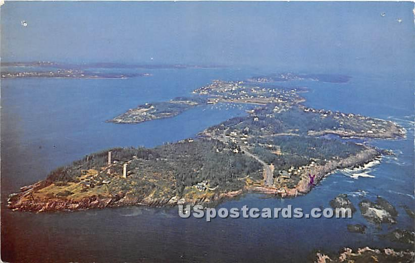 Airview of southern end of Bailey Island - Maine ME Postcard