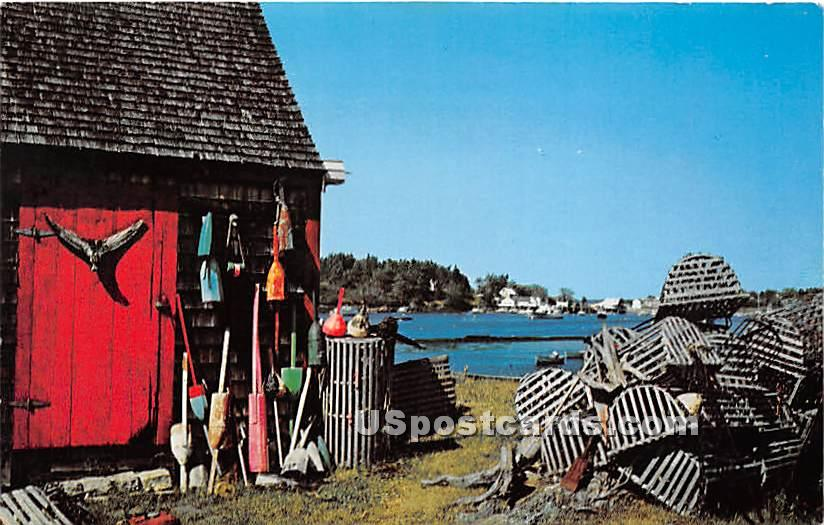 Lobster Buoys & Pots - Bailey Island, Maine ME Postcard