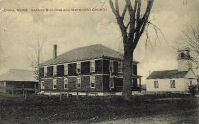 Grange Building & Methodist Church - China, Maine ME Postcard