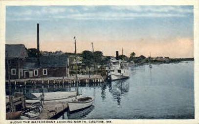 Waterfront - Castine, Maine ME Postcard