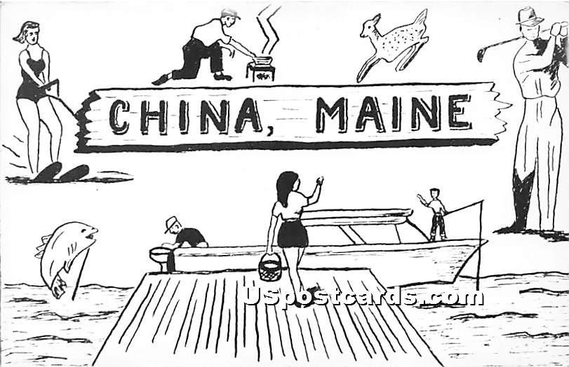 China, Maine ME Postcard