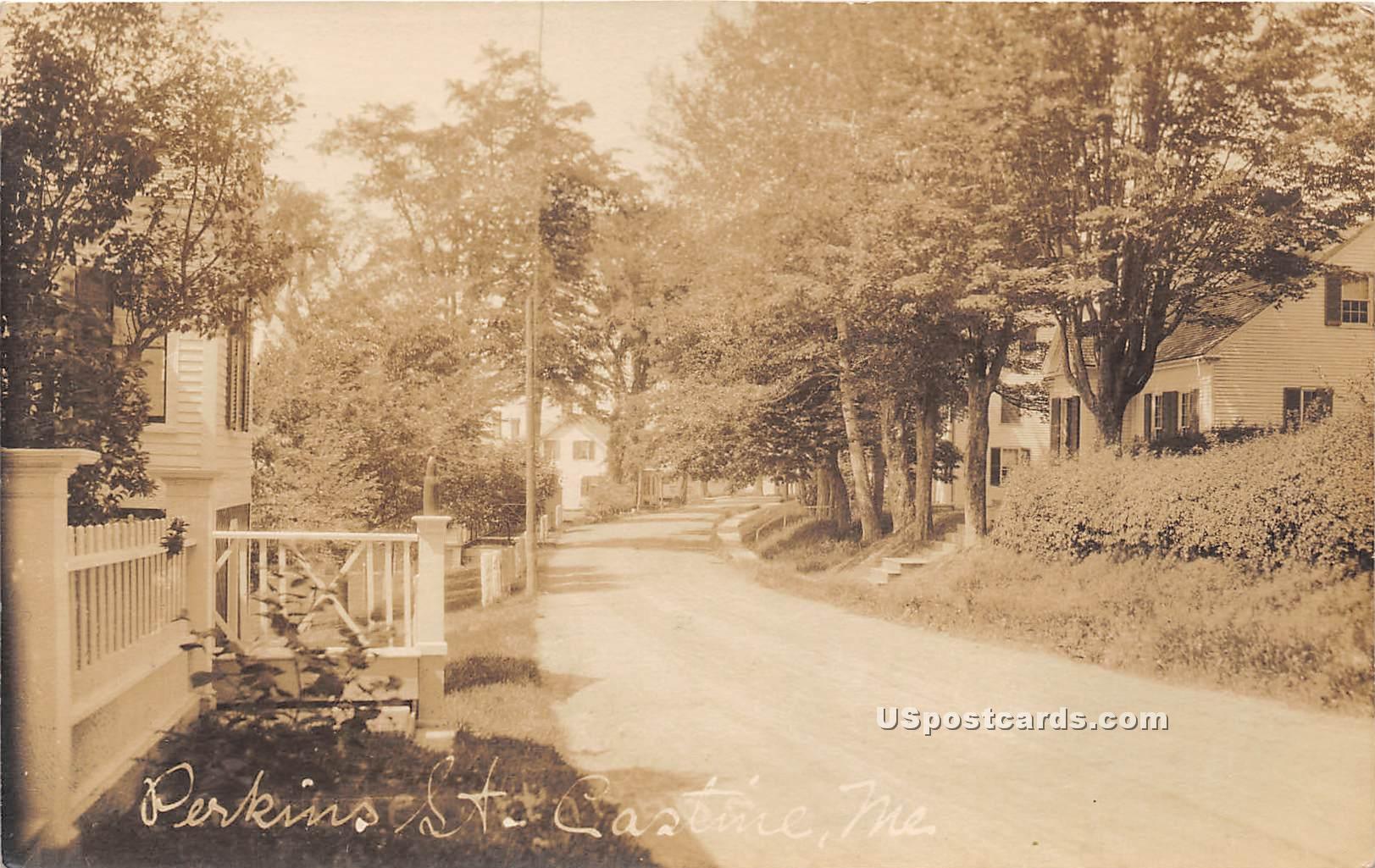 Perkins Street - Castine, Maine ME Postcard