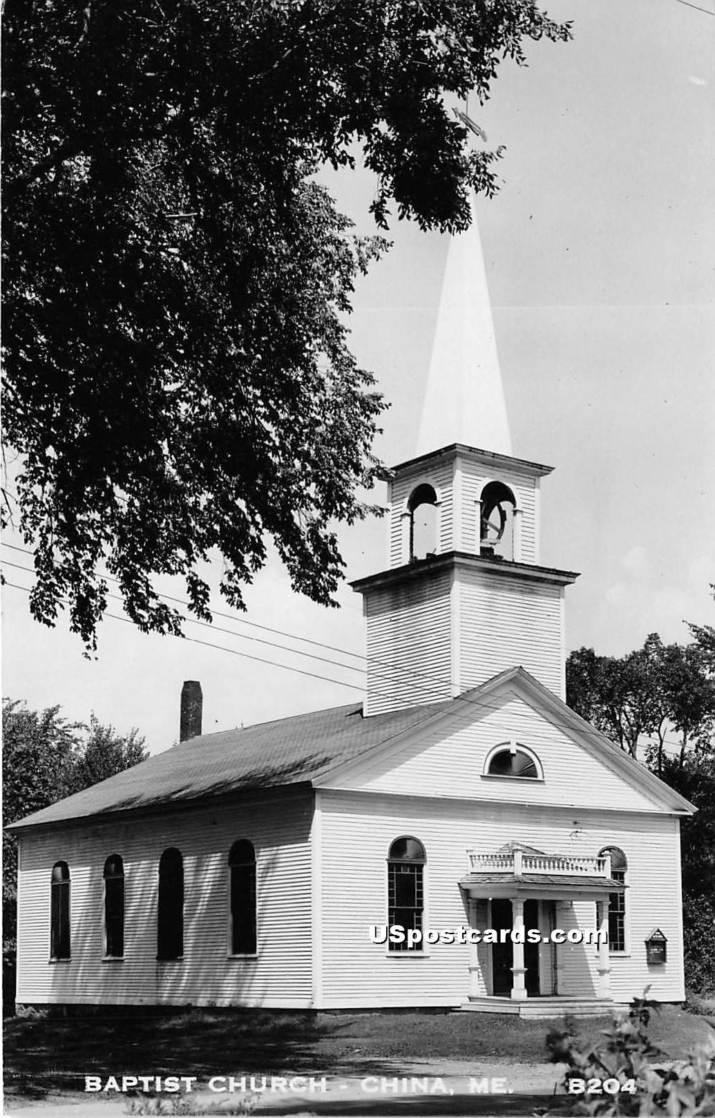 Baptist Church - China, Maine ME Postcard