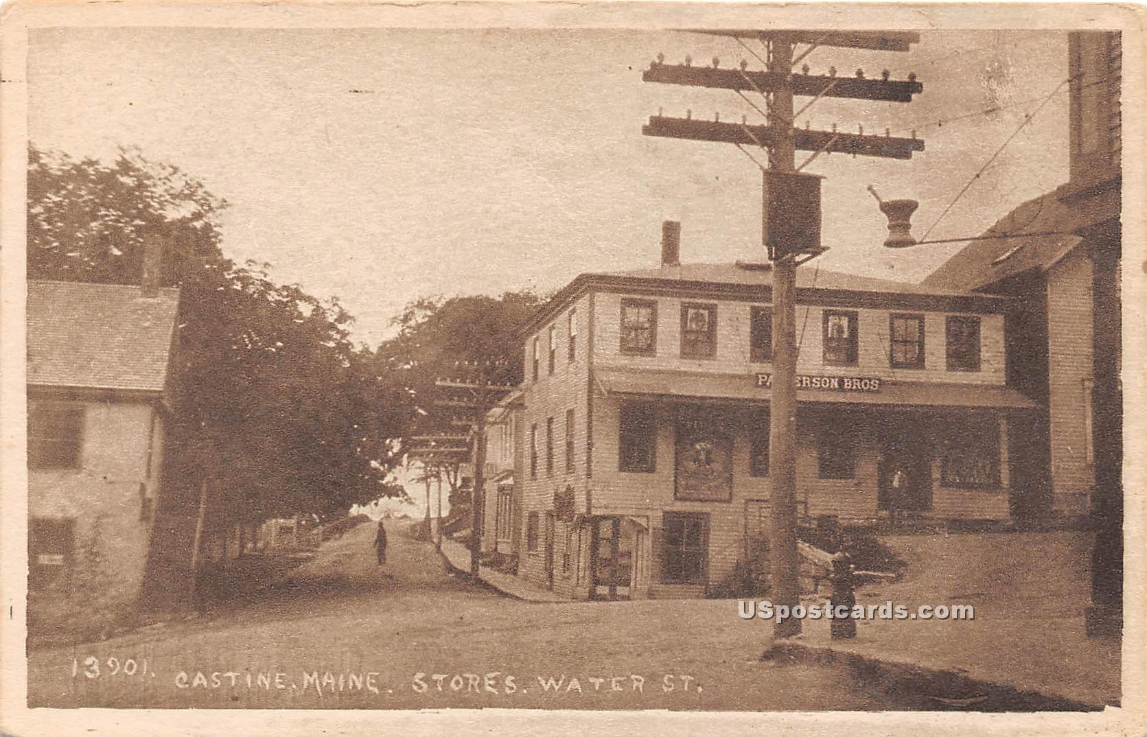 Stores, Water Street - Castine, Maine ME Postcard