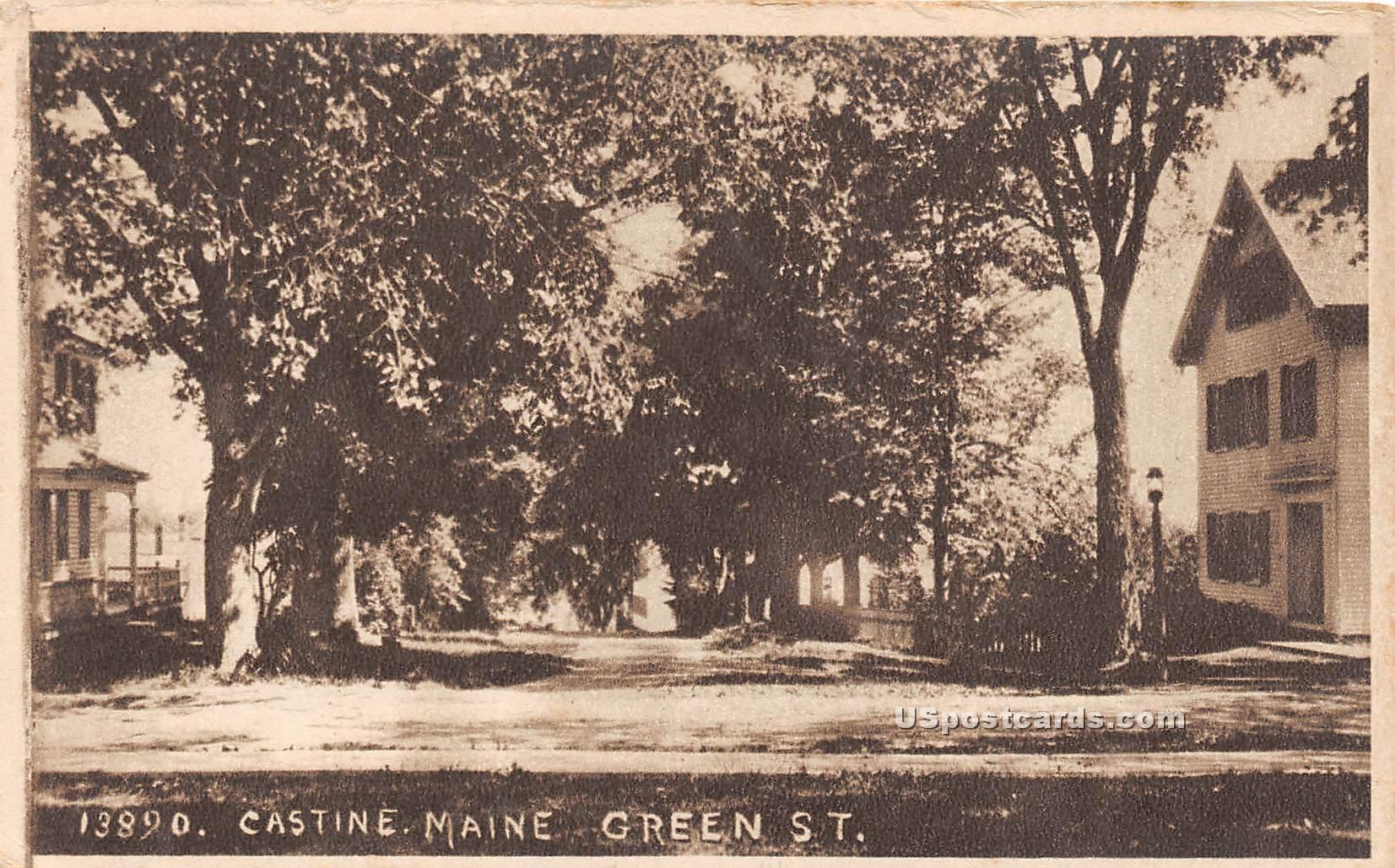 Green Street - Castine, Maine ME Postcard