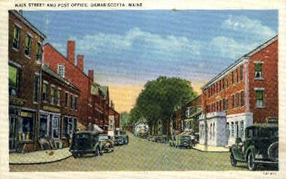 Post Office & Main St. - Damariscotta, Maine ME Postcard