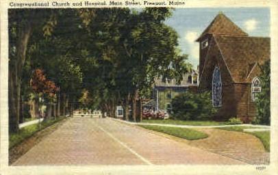 Congregational Church & Hospital - Freeport, Maine ME Postcard