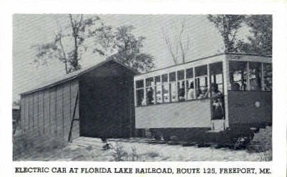 Electric Car, Florida Lake Railroad - Freeport, Maine ME Postcard
