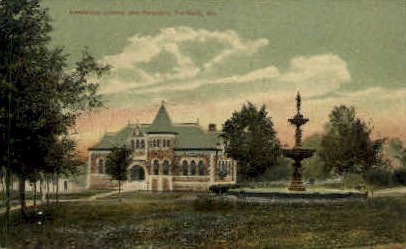 Lawrence Library & Fountain - Fairfield, Maine ME Postcard