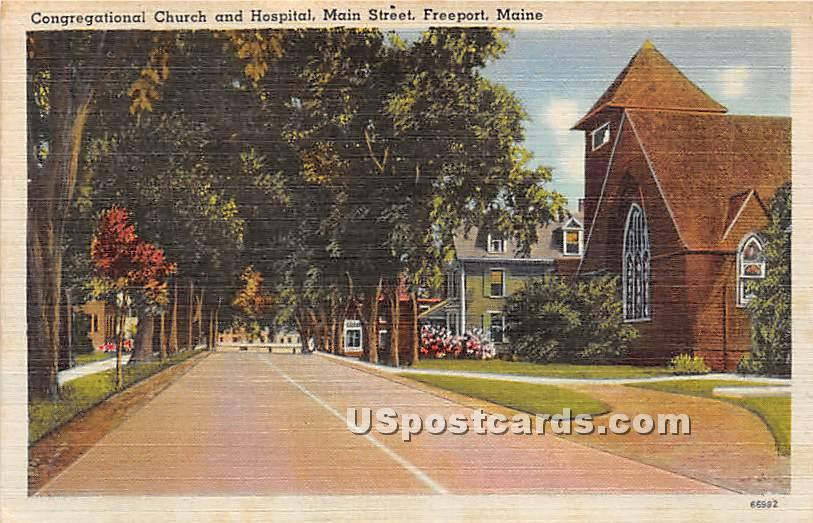 Congregational Church & Hosptial - Freeport, Maine ME Postcard