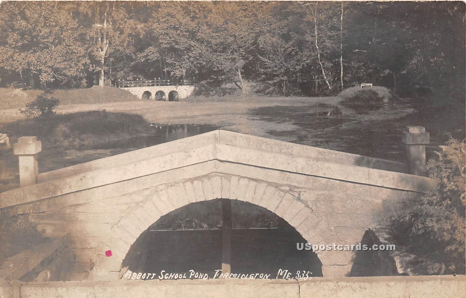 Abbott School Pond - Farmington, Maine ME Postcard