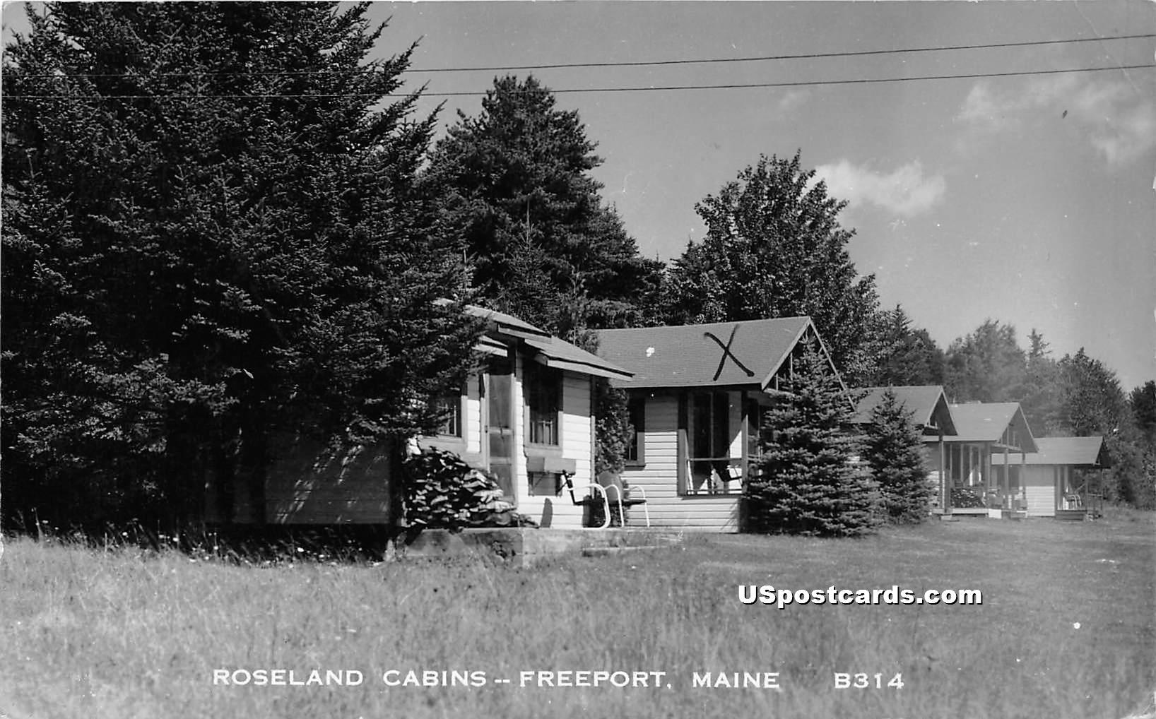 Roseland Cabins - Freeport, Maine ME Postcard