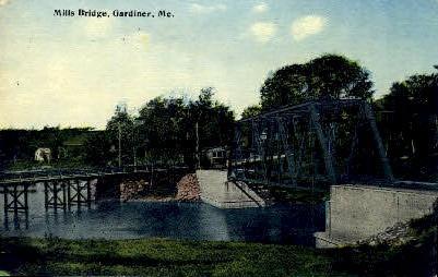Mills Bridge - Gardiner, Maine ME Postcard