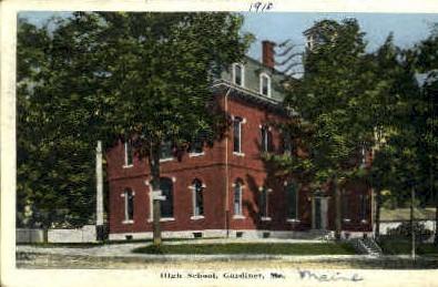 High School - Gardiner, Maine ME Postcard