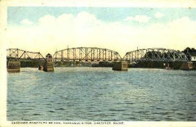 Gardiner-Randolph Bridge - Maine ME Postcard