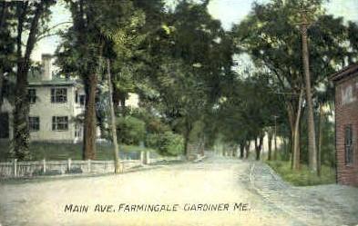 Main Ave. - Gardiner, Maine ME Postcard