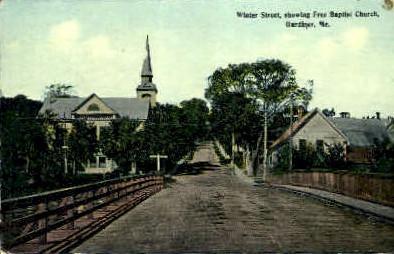 Winter St. - Gardiner, Maine ME Postcard