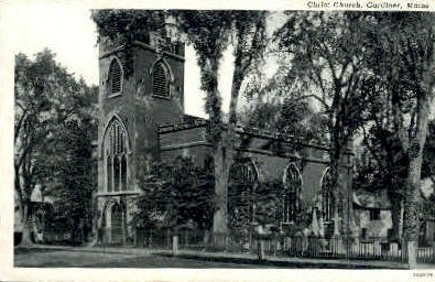 Christ Church - Gardiner, Maine ME Postcard